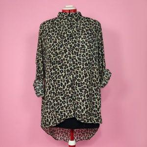 Leopard Print Hi-Lo Hem Long Sleeve Button Up